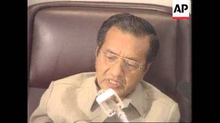 MALAYSIA: PRIME MINISTER MAHATHIR MOHAMAD BOSNIA CRITICISM