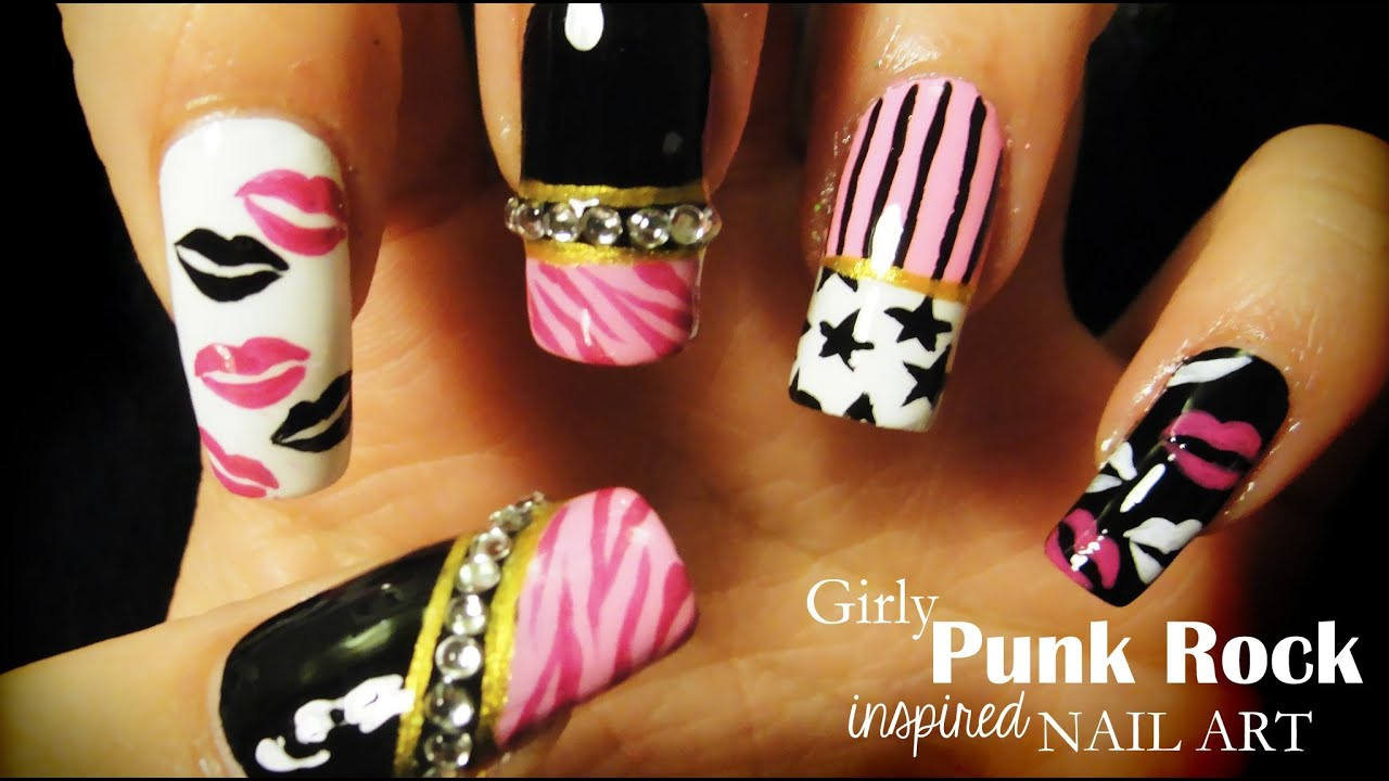 Girly Punk Rock inspired nail art - YouTube