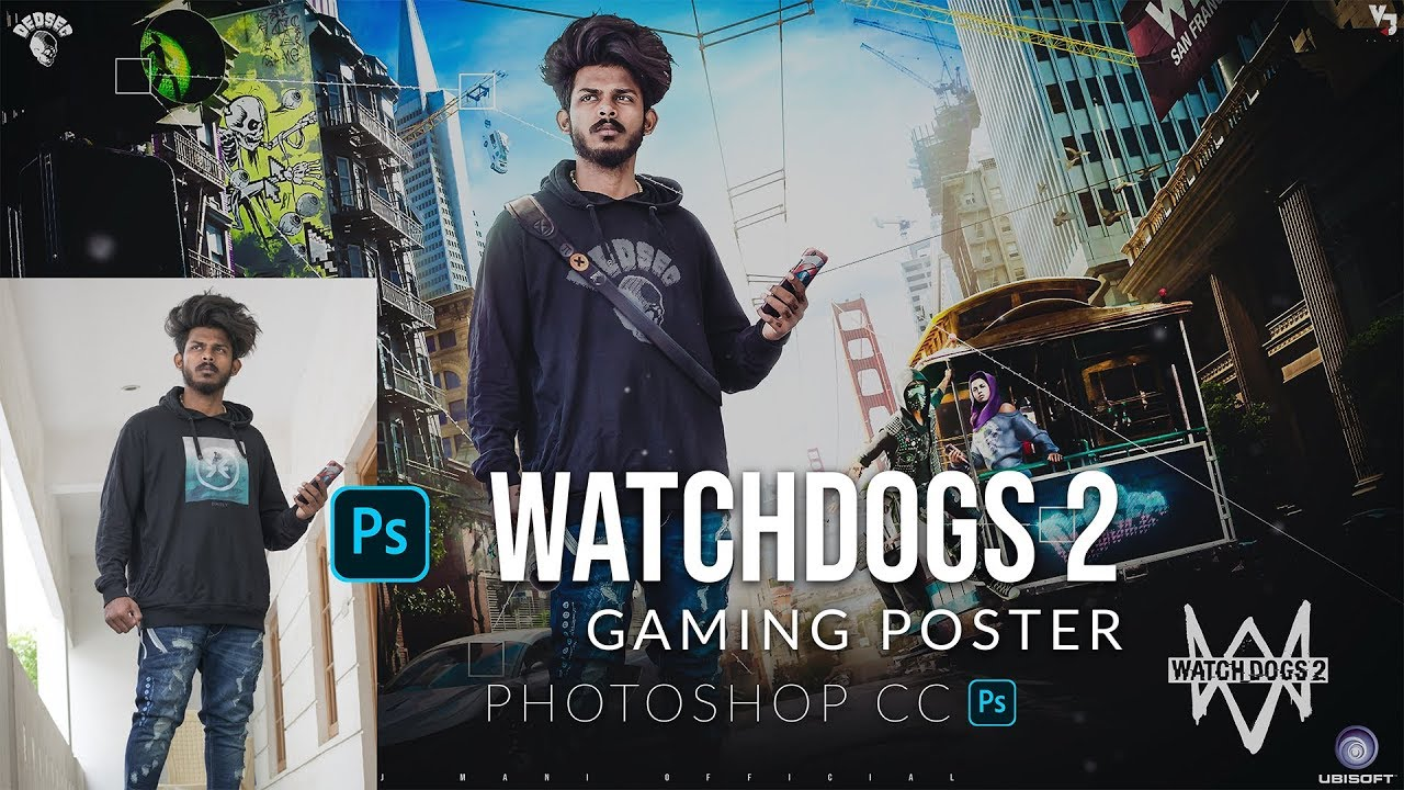 How to manipulate a photo in ps | gaming poster | watchdogs 2 | VJ Editz #photoshop #manipulation