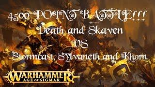 Warhammer 4500 POINT BATTLE!!! Death & Skaven vs Stormcast, Sylvaneth and Khorn