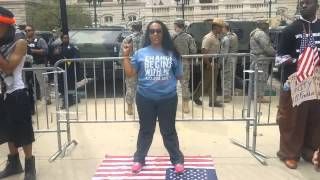 Erica Walker Steps on flag infront of Soldiers #ericsheppardchallenge