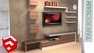 how to drawing modern tv stand in sketchup 2018 by Tan Sochan