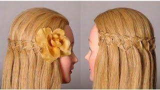 Красивая  прическа: Французский водопад. Waterfall braid hairstyle