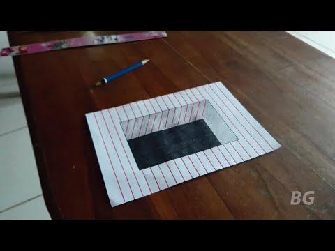 WOW Membuat Gambar Kotak Jurang (Box Hole) Gambar Efek 3D Kerenn