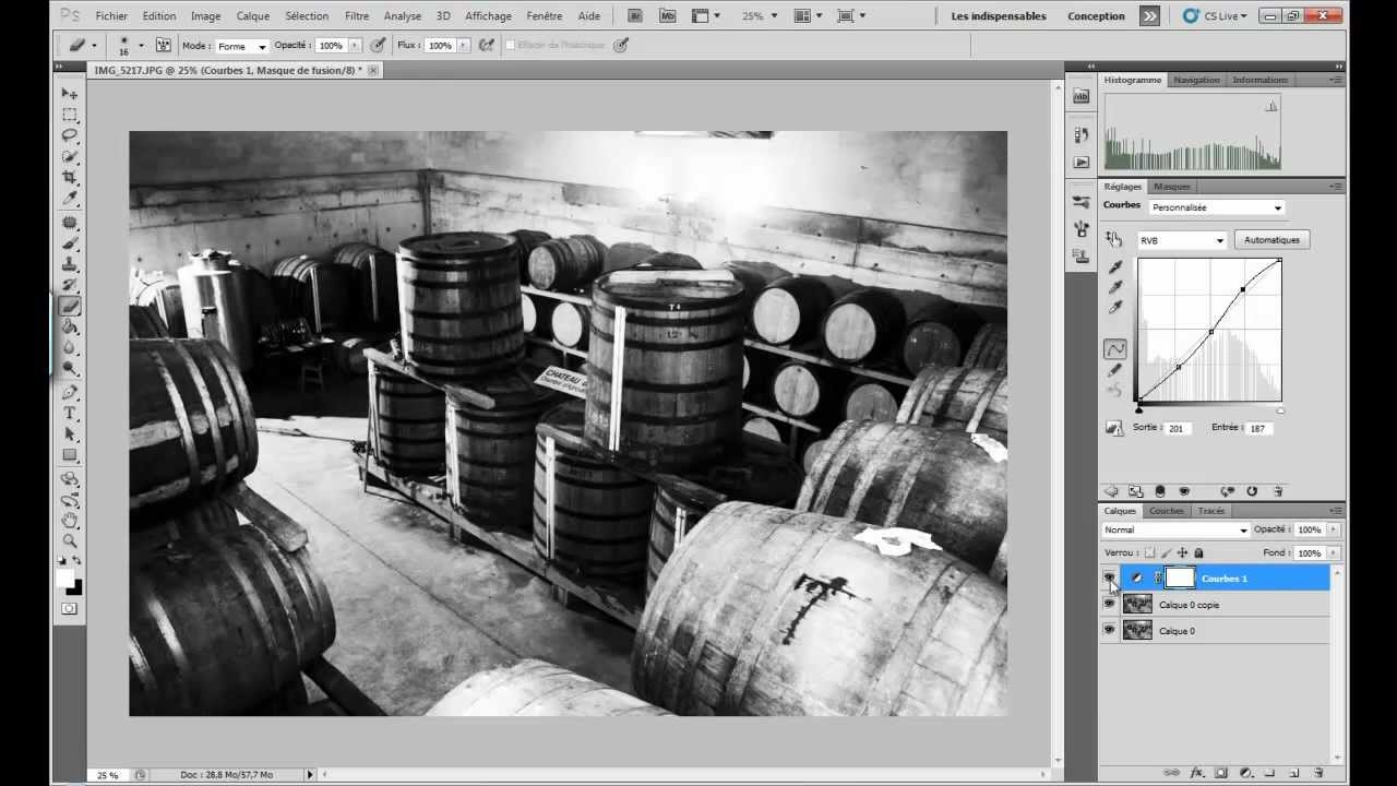 Tuto faire un noir et blanc intense avec photoshop cs5 for Effet miroir photoshop cs5