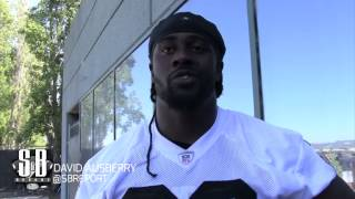 Raiders TE David Ausberry talks to media from mandatory minicamp