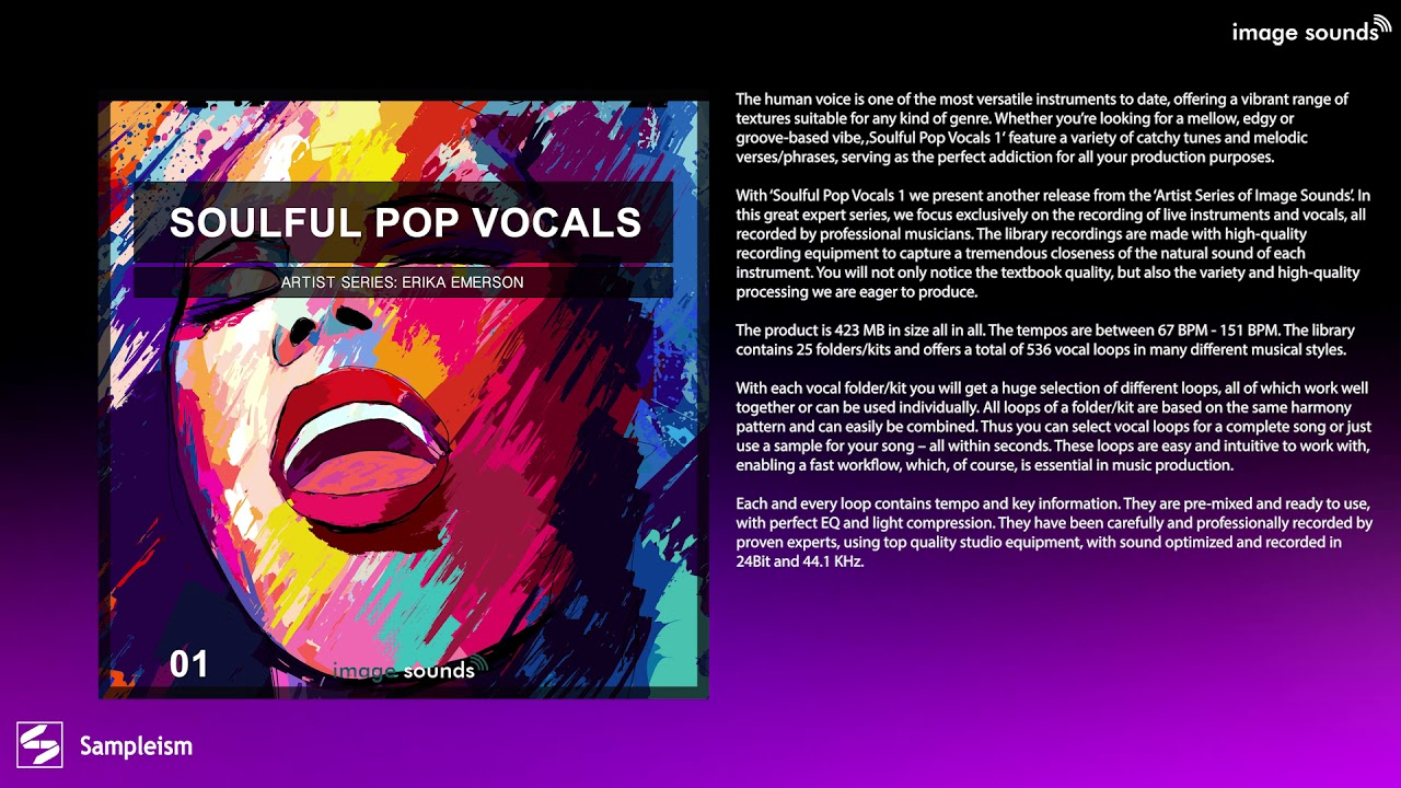 Soulful Pop Vocals 1 - Mellow But Edgy Groove Based Vibe