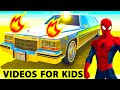 COLORS LIMOUSINE Spiderman Cartoon for Kids - Epic Cars Party with Children's Nursery Rhymes Songs