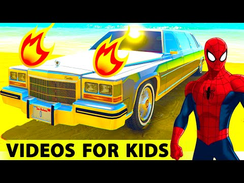 COLORS LIMOUSINE Spiderman Cartoon for Kids - Epic Cars Party with Children's Nursery Rhymes Songs |