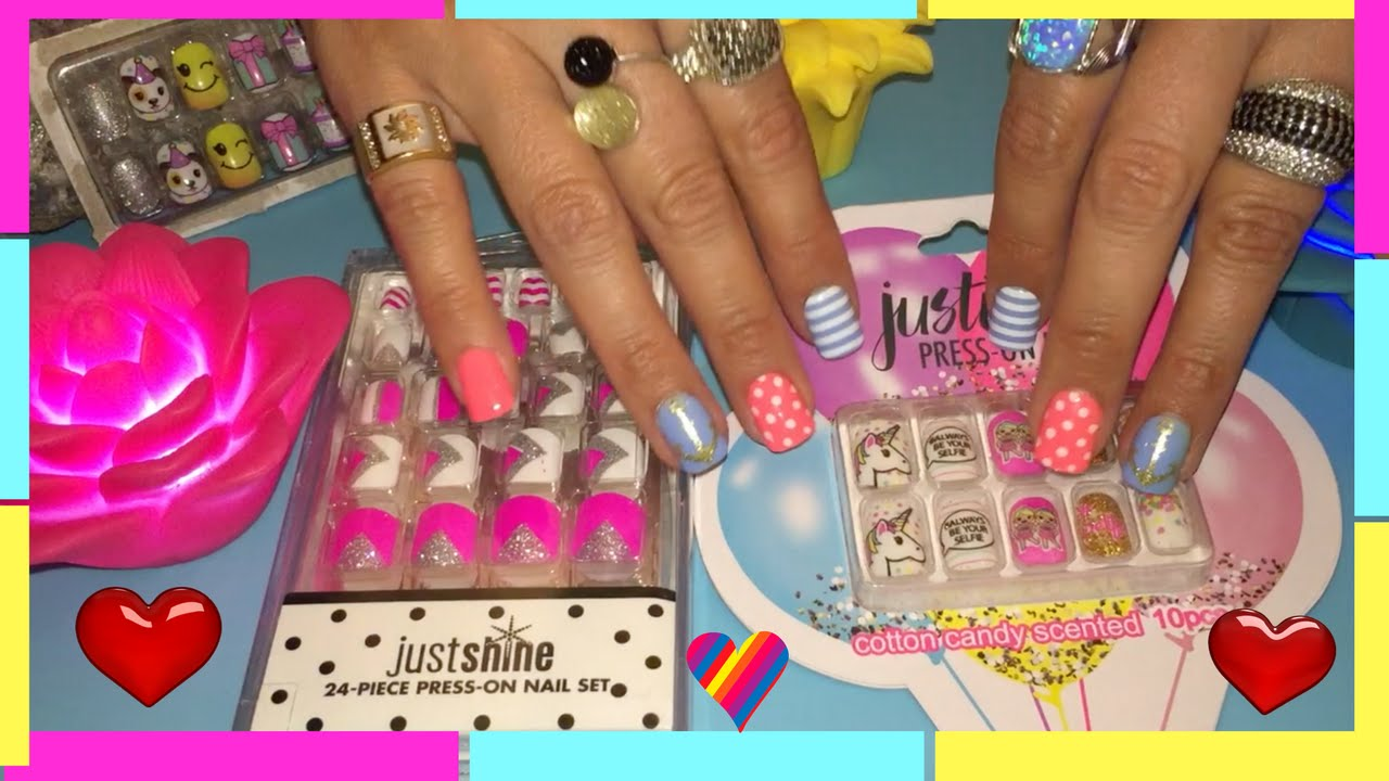 Justice Prees On Nails And Just Shine Cotton Candy Scented