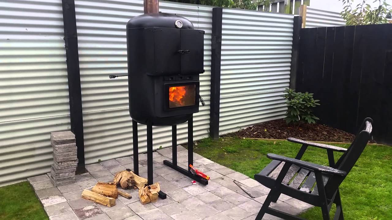 pizza oven made out of water pressure tank and log fire youtube