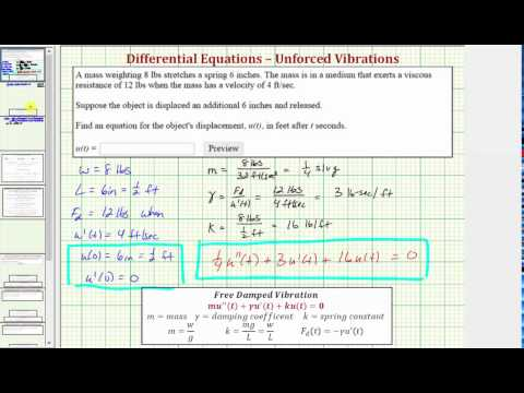 Ex: Model Free Damped Vibration and Find Displacement Function - YouTube