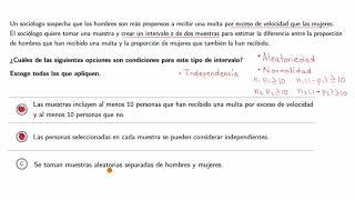 Ejemplos de cómo identificar las condiciones para las pruebas-z y los intervalos-z de dos muestras