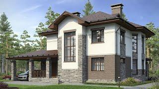 Проект дома в европейском стиле. Дом с эркером, панорамные окна и второй свет. Ремстройсервис М-163