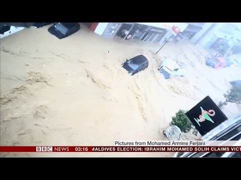 Extreme weather 2018 - Flash flooding (Tunisia) - BBC News - 24th September 2018