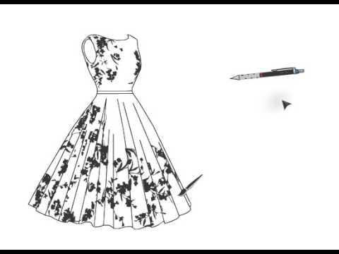 8b22f3e2d رسم فستان قصير مورد - YouTube