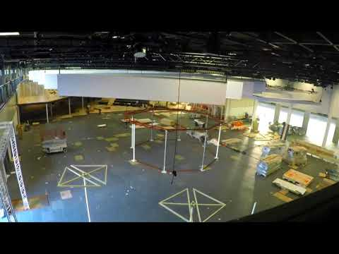 Construction of the booth in time-lapse video