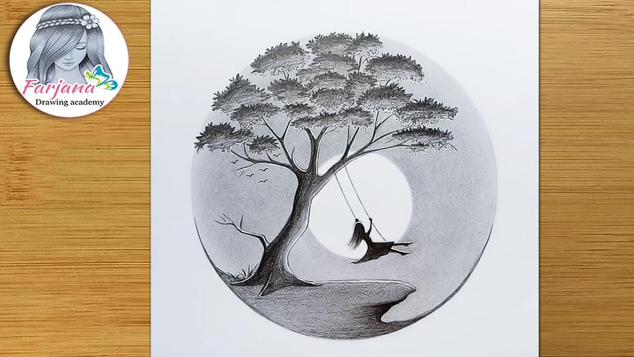 A girl swinging in a tree - Pencil sketch for beginners    Alone girl -Step by step drawing tutorial