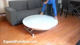 Beautiful Modern Round Glass Table Transforms Into Coffee Table