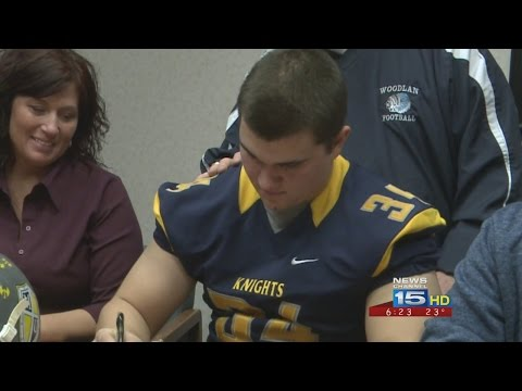 Mitchell VanBrocklin signs with Marian University on 2/4/16 from WANE-TV 6 p.m. newscast