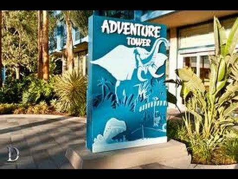 Full Walkthrough Of The Lobby Adventure Tower At Disneyland Hotel Hd Pov