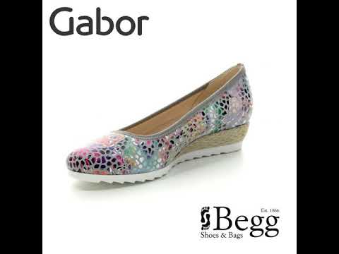 20b9e38d0 Gabor Epworth 22.641.24 Grey Multi Floral Wedge Shoes - YouTube
