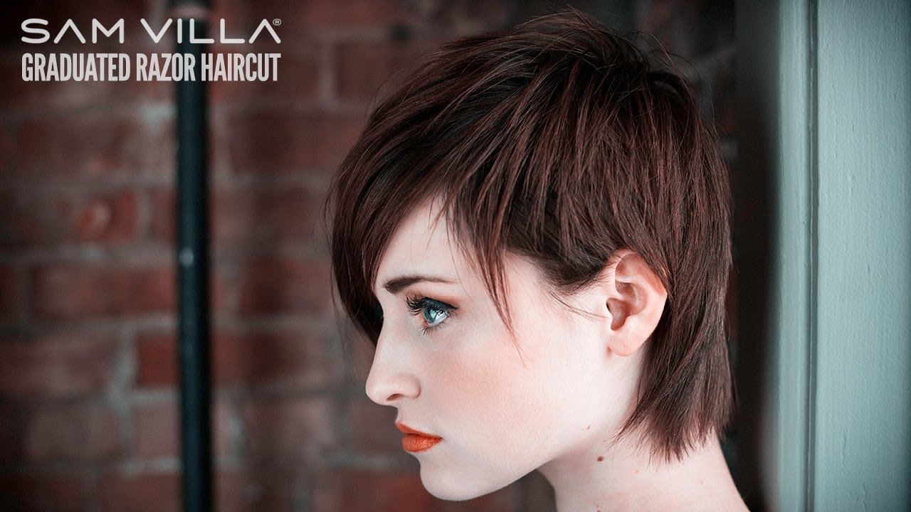 Short Razor Haircut Tutorial How To Create Scattered Graduation Texture Youtube