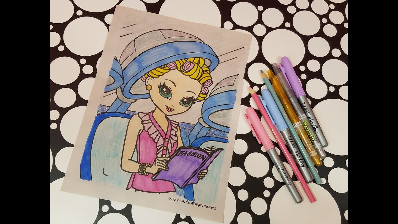 LISA FRANK Coloring Page Hair Salon