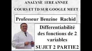 REVISION ANALYSE 1ERE ANNEE  SUJET 2 PARTIE 2