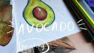 Watercolor tutorial. How to draw an avocado #8