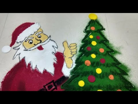 Santa clause Christmas Rangoli by Shilpa's Creativity