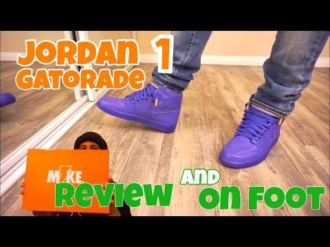 finest selection d839b 18ce6 Jordan 1 Gatorade Purple Review + On Foot - YouTube