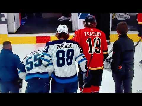 Mark Scheifele Injured In Game One Vs Calgary Youtube