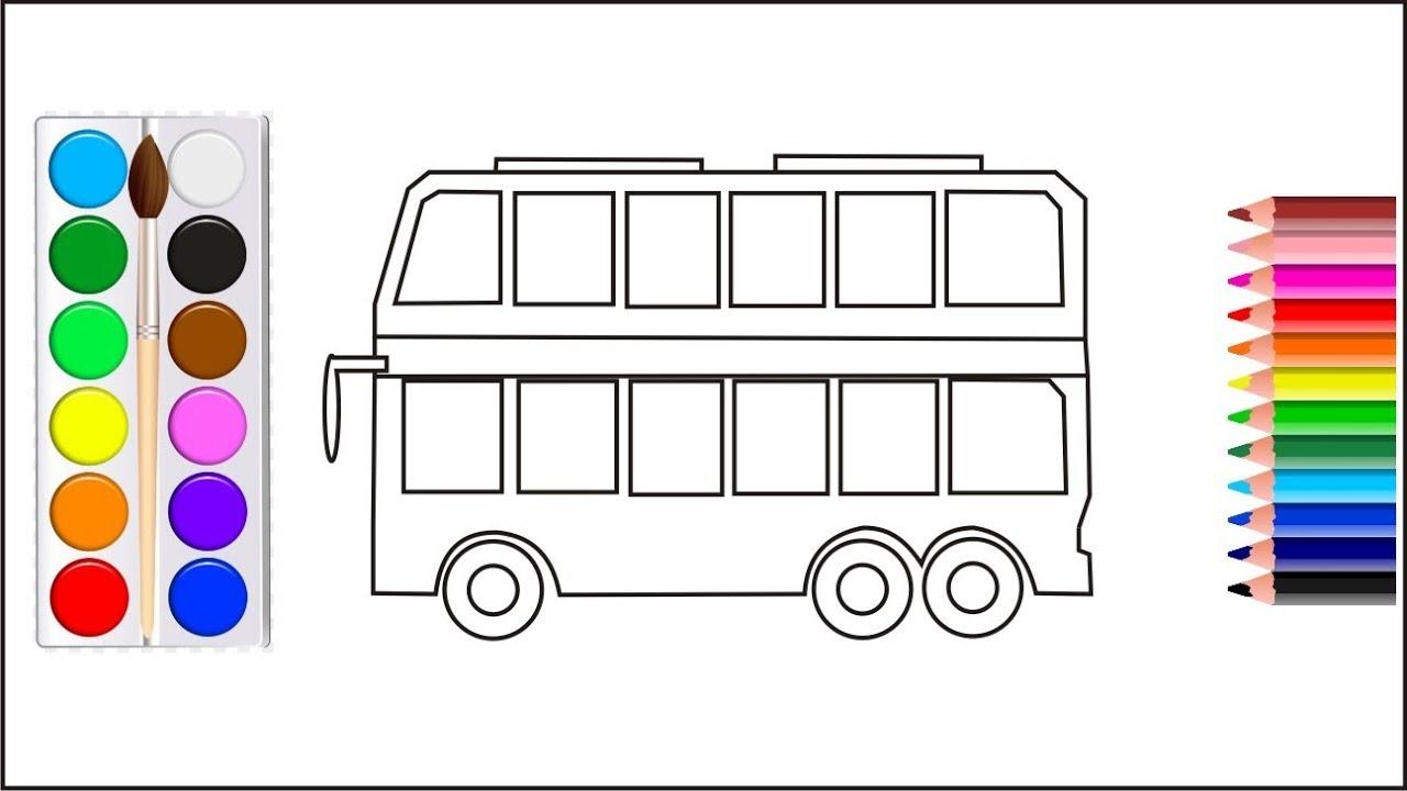 Belajar Menggambar Dan Mewarnai Bus Tingkat