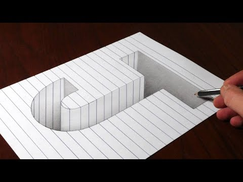 Drawing J Hole in Line Paper - 3D Trick Art Optical Illusion