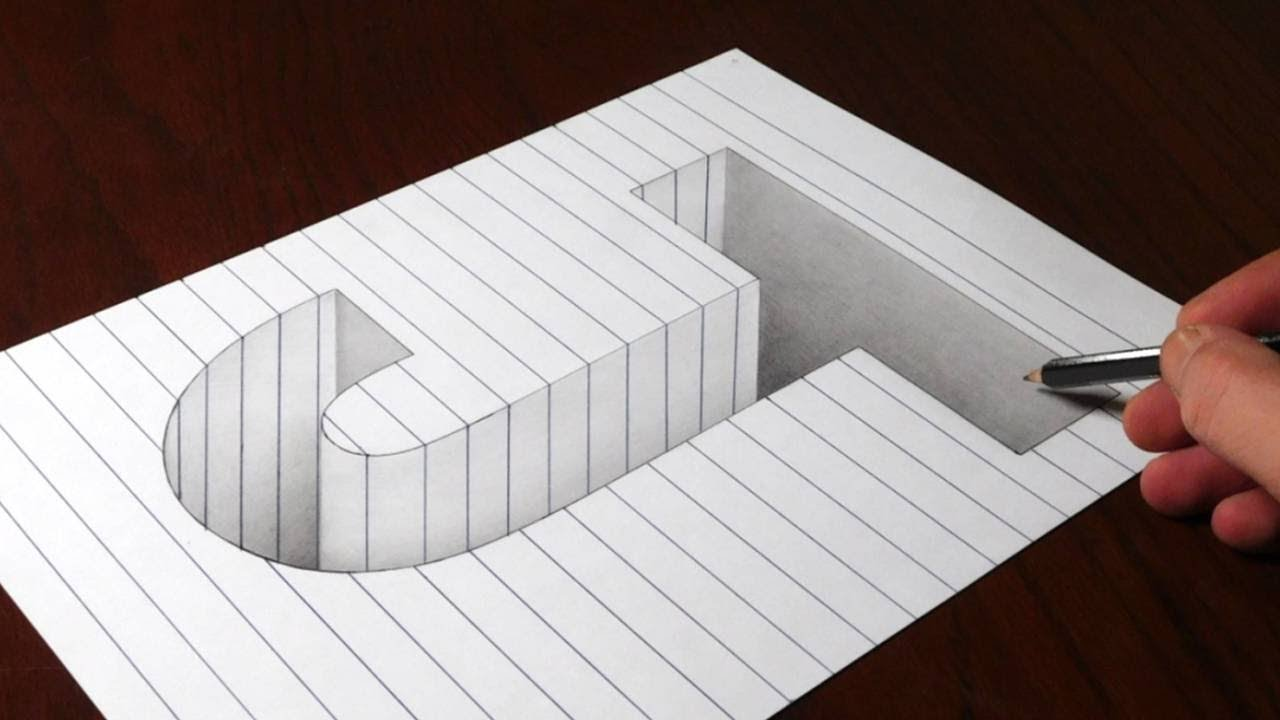 drawing j hole in line paper 3d trick art optical illusion youtube. Black Bedroom Furniture Sets. Home Design Ideas
