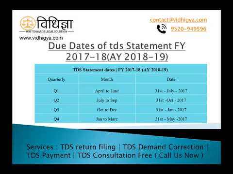 Due Dates Of Tds Statement Fy 2017 18 Youtube