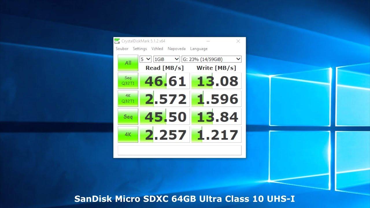 Sandisk Micro Sdxc 64gb Ultra Class 10 Uhs I Test Benchmark Youtube 1 Sd 48 Mb S 32gb Sdsqunb