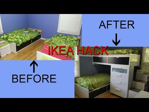 ikea-hack,-single-beds-turn-into-a-modern-bunk-bed