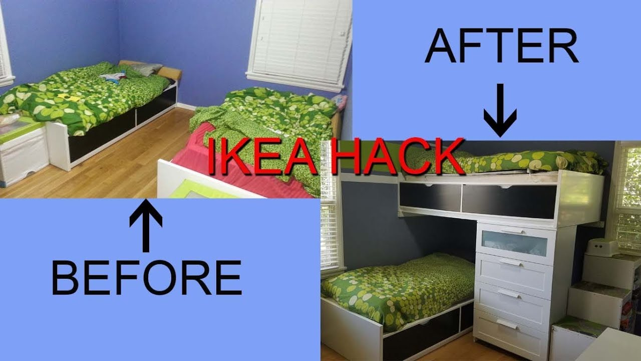 Ikea hack single beds turn into a modern bunk bed youtube for Ikea tuffing review