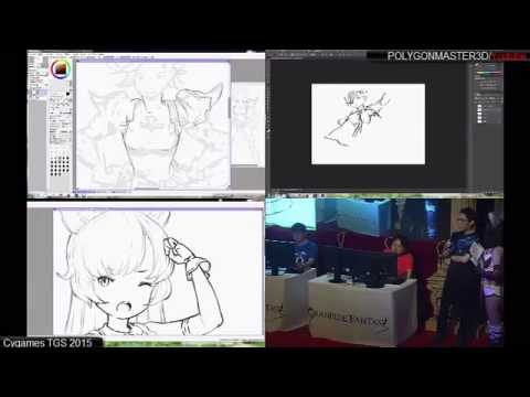 Granblue Fantasy Artist live TGS 2015 ( FULL SHOW ) LIVE DRAWING
