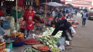 Walk through large fresh market in Pakse, Laos
