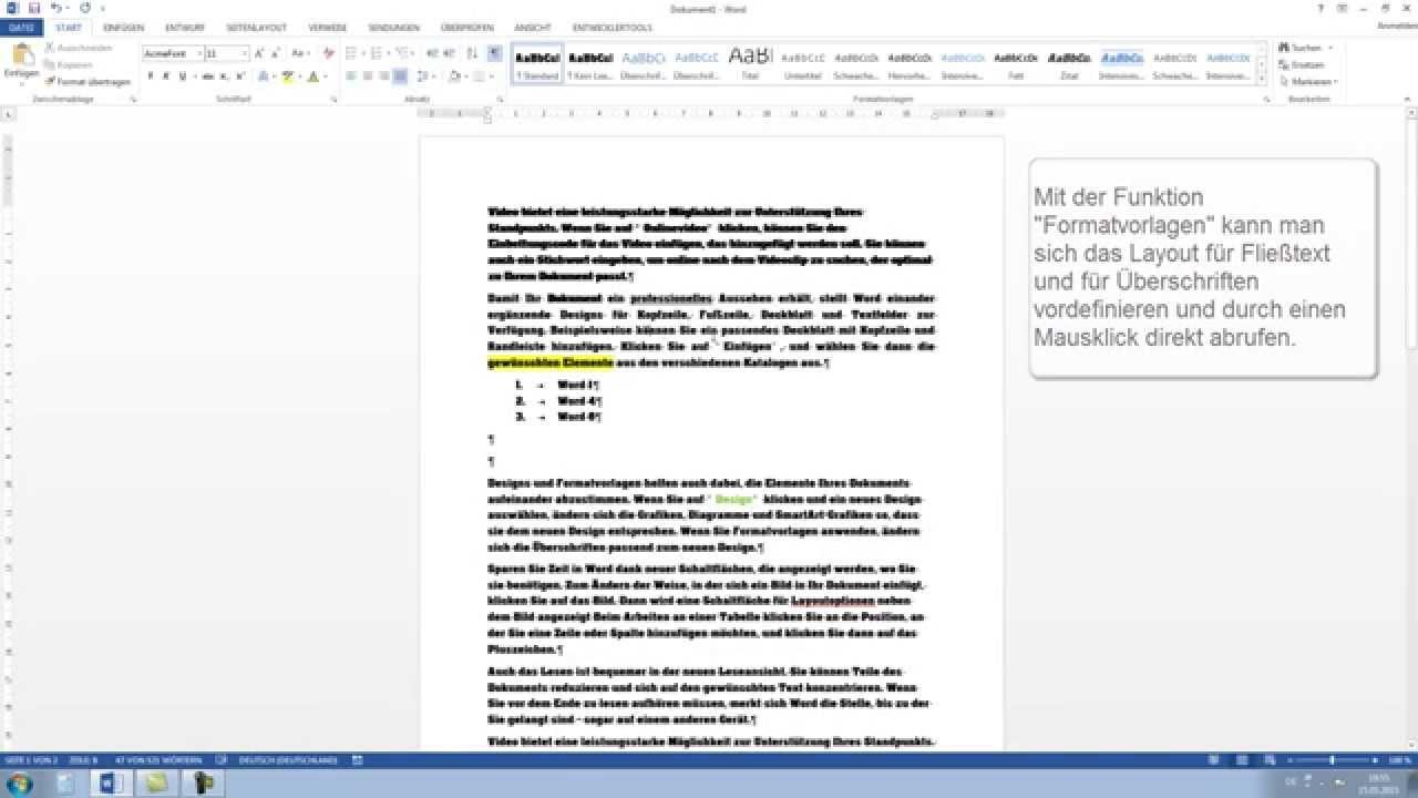 Word 2013, 2010: Anfängerkurs - Word lernen Tutorial [Teil 1, HD ...