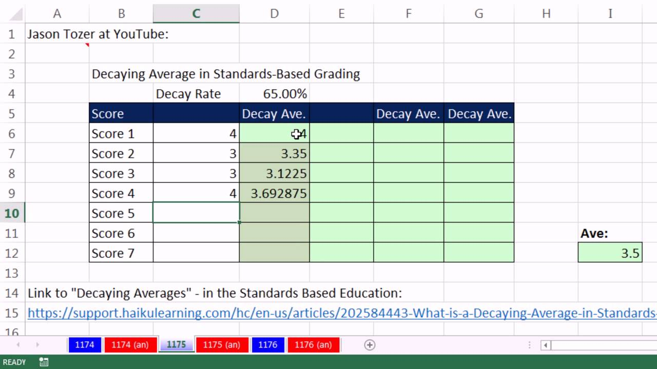 excel magic trick 1175 decaying average in standards based grading