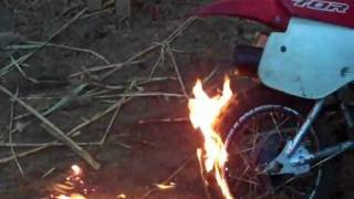 Honda XR 70 Catches Fire!