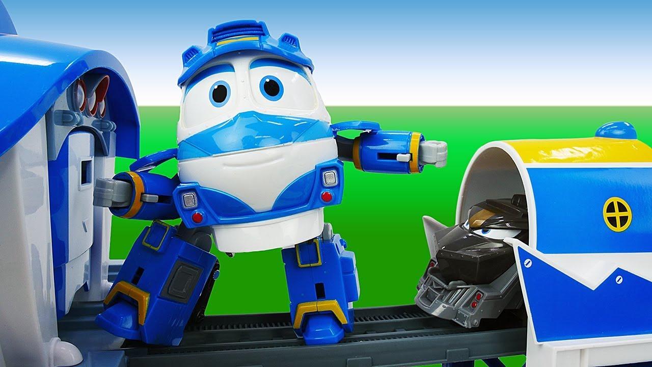 Роботы поезда и Летающая платформа - Видео для детей с ...