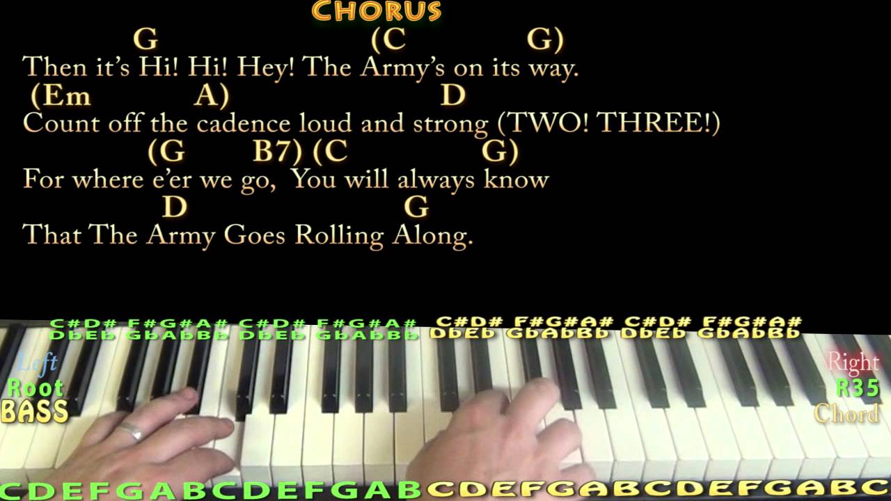 The Army Goes Rolling Along - Piano Cover Lesson in G with Chords/Lyrics