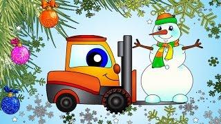 Weihnachts Spass im Schnee mit Bagger. Christmas cartoons