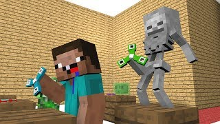 Monster School Skeleton and Slime Life Spinner Challenge Minecraft Animation