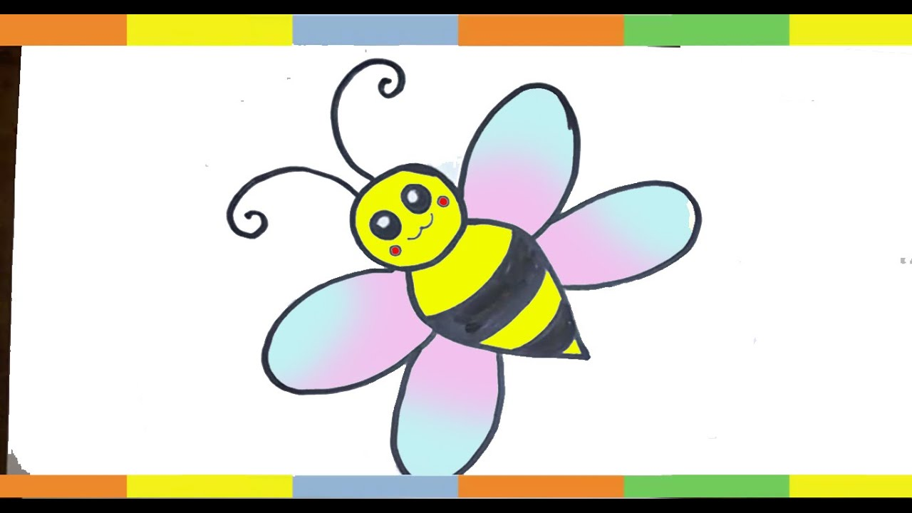how to draw a bee for kids stap by step easy hunny bee drawing lesson easy sketch youtube